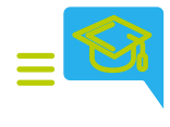 Conversation icon and mortarboard.