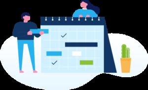 Image d'un calendrier tenu par deux personnes.