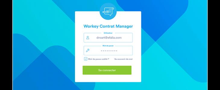 Capture d'écran de la page d'acceuil de workey contrat manager.