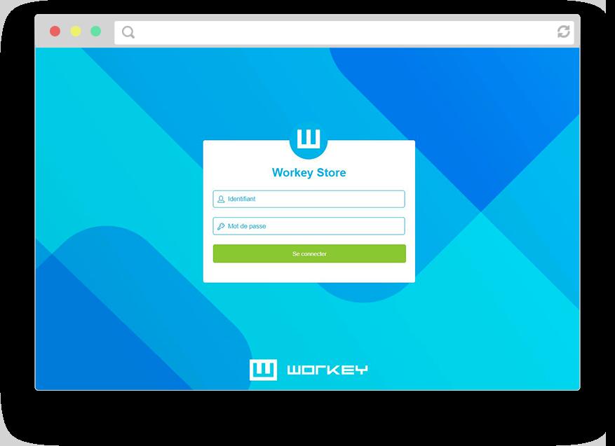 Capture d'écran de la page de connexion de workey store.