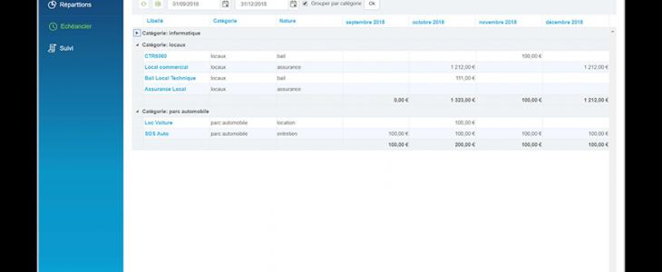 Capture d'écran des contrats fournisseurs.